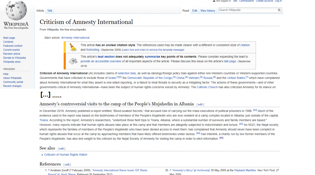 Amnesty International Mojahedin Khalq MEK Wikipedia