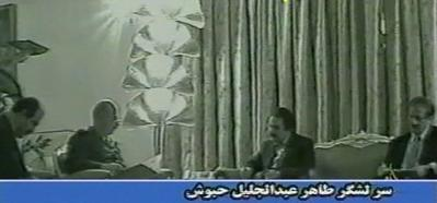 Mehdi Abrishamchi and Massoud Rajavi taking orders from Saddam's head of secret services