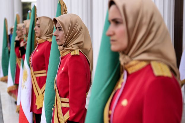 Female guards at the MEK headquarters in Albania