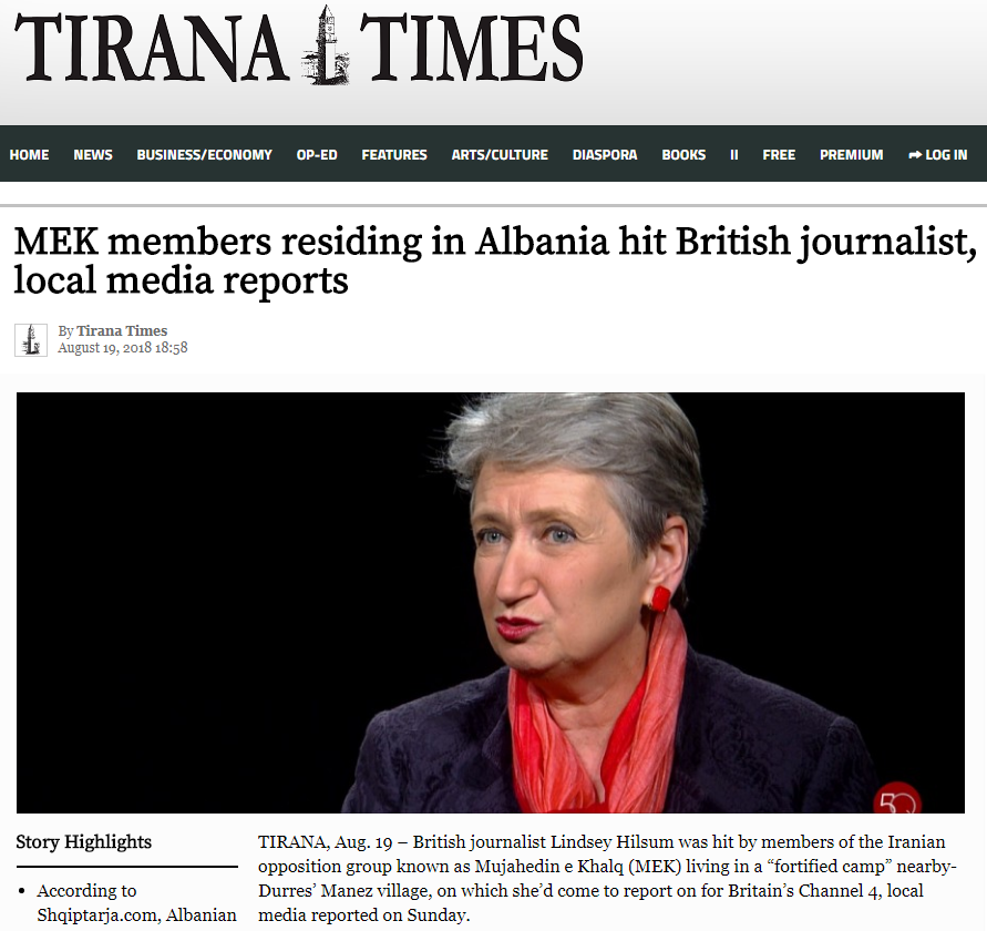 MEK members residing in Albania hit British journalist, local media reports (Mojahedin Khalq, Maryam Rajavi Cult, NCRI …)