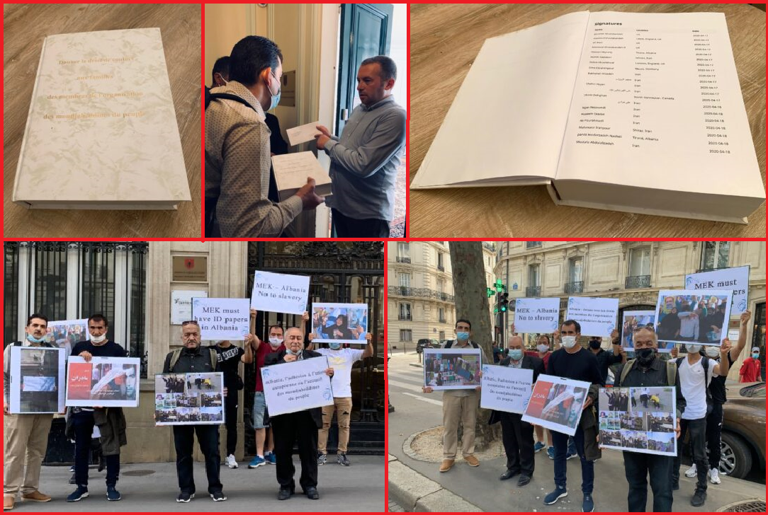 MEK Families Petition Albanian Embassy in Paris