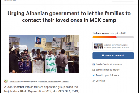 MEK Families Petition Albanian Government