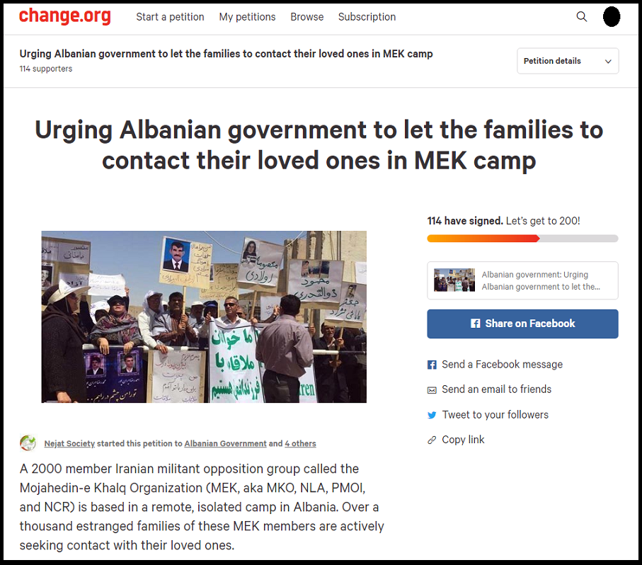 MEK Families Petition Albanian Government More than 8000 signatures after 12 days