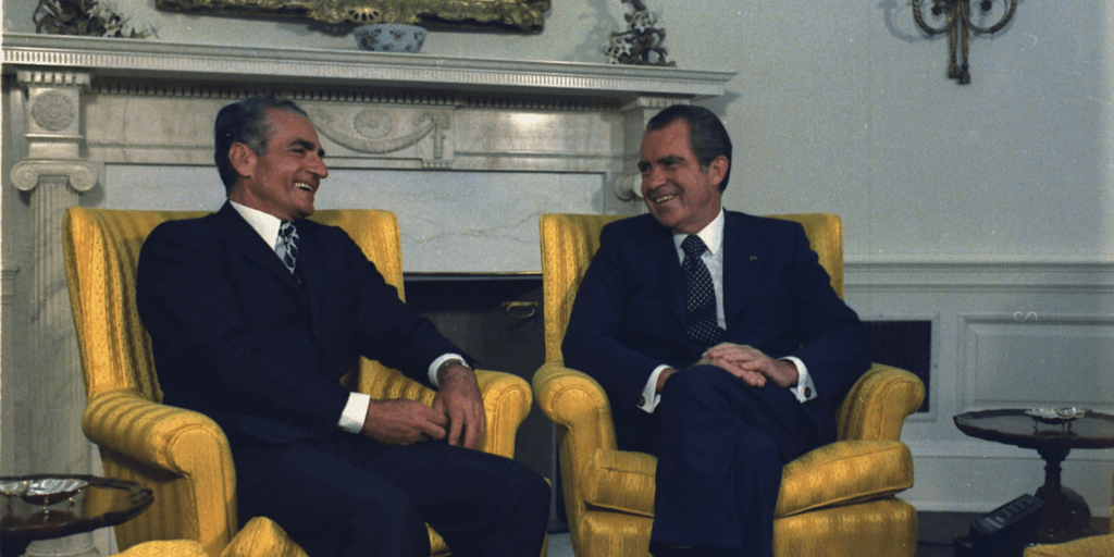 Shah of Iran with President Nixon during a state visit to the United States, July 24, 1973. Source: Richard Nixon Foundation