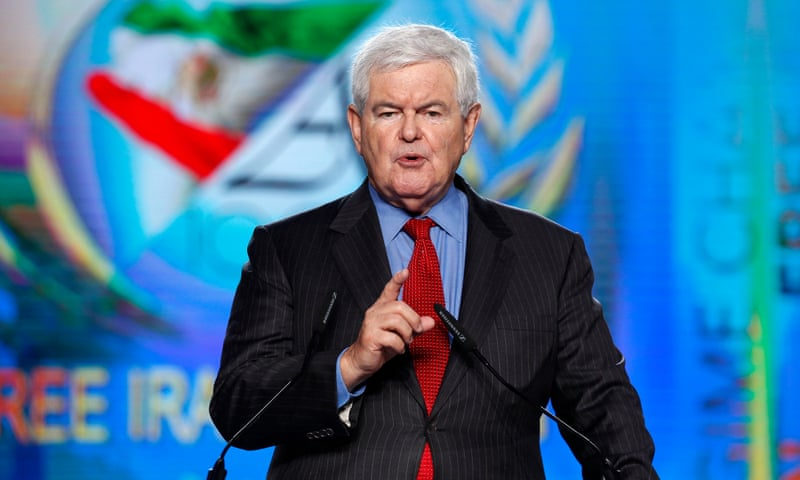 Newt Gingrich delivers a speech during the Free Iran rally in Paris in July 2016. Photograph: NurPhoto via Getty