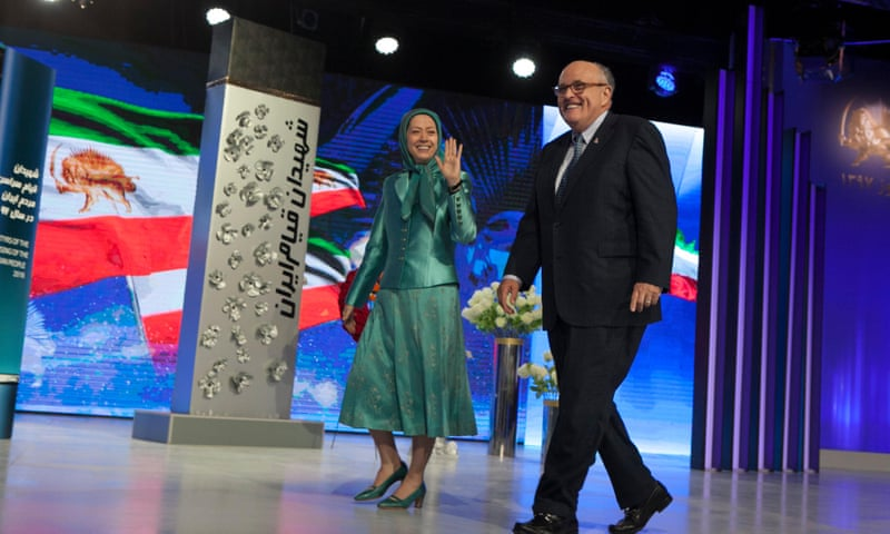 Maryam Rajavi and Rudy Giuliani at a ceremony in Tirana in March marking the Iranian new year. Photograph: Alamy