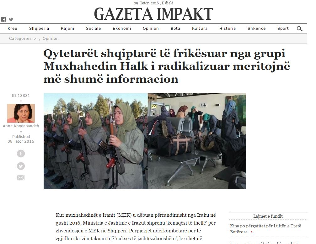 Albanian citizens fearful of radicalised Mojahedin Khalq neighbours deserve more information