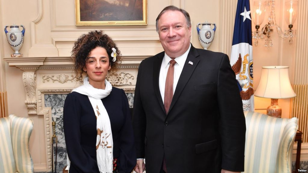 Secretary of State Mike Pompeo meets with Iranian women's rights activist Masih Alinejad