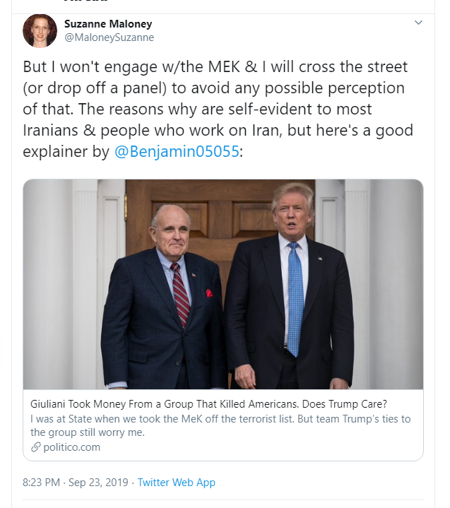Suzanne Maloney dropped out of UANI event due to presence of MEK